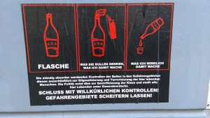 "Poster about ""dangerous goods"" in the Rigaer Str."